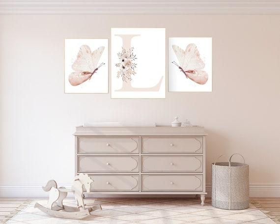 Nursery decor girl butterflies, blush pink, Butterfly Nursery Art, Girl Nursery Art, Butterfly Nursery Decor for Baby Girl, floral nursery