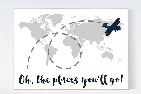 Oh the places you'll go, gray nursery decor, travel nursery decor, World Map wall art, world map nursery, navy gray nursery, grey nursery