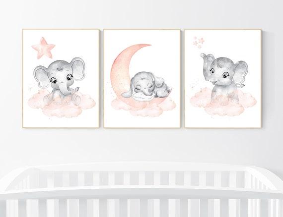 Nursery decor elephant, peach nursery, elephant nursery print, nursery wall art animals, girl nursery, coral nursery, nursery wall decor