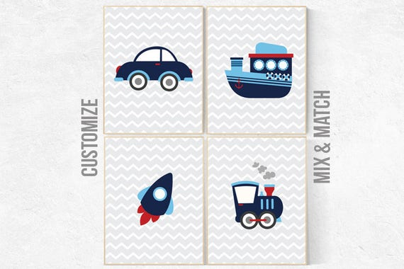 Transportation nursery, kids decor, vehicles wall art, navy nursery, Baby Boy Nursery, playroom decor, boy decor, boys room decor, Toddler