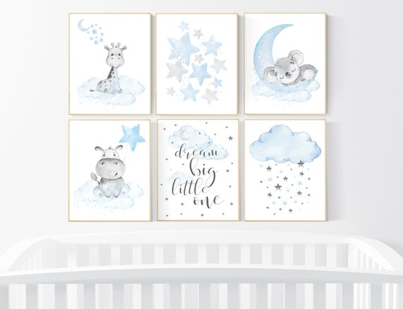 Animal nursery, Nursery decor boy koala, giraffe, hippo, baby blue nursery, boys room decor, blue gray, animal prints, animal prints