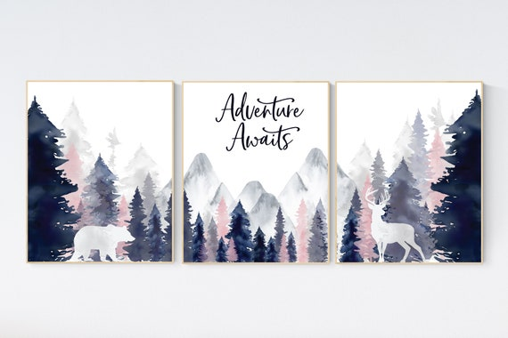 Nursery decor woodland, mountain wall art, tree nursery decor, adventure theme nursery, forest, navy and blush, woodland animals, navy blush