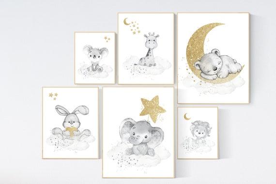 Animal prints, Gender neutral nursery, gold and gray nursery, elephant, giraffe, lion, koala, rabbit, bear, animal nursery, neutral colors