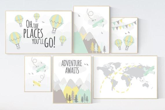 Adventure nursery decor, nursery decor airplane, world map nursery, adventure awaits, yellow mint nursery, travel theme, gender neutral