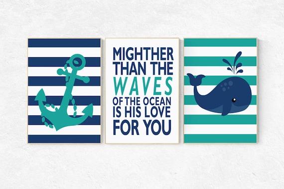 Nautical nursery prints, mightier than the waves of the sea, Nautical decor, whale nursery decor, navy nursery decor, nursery decor boy
