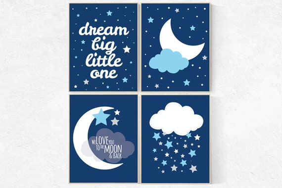 Nursery prints boy, navy blue nursery decor, nursery decor boy, dream big little one, NAVY gray Nursery decor boy, nursery wall art, boys