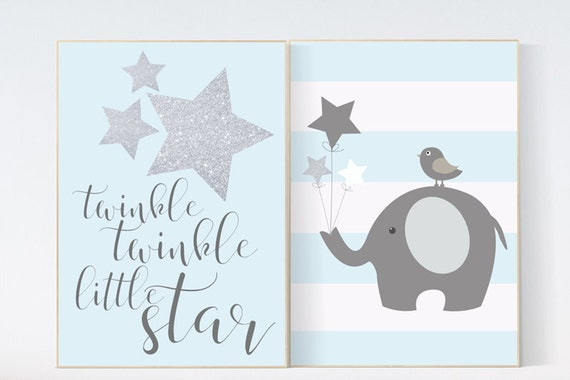 Nursery wall art elephant, nursery decor boy elephant, blue and silver nursery, twinkle twinkle little star, elephant nursery, blue nursery