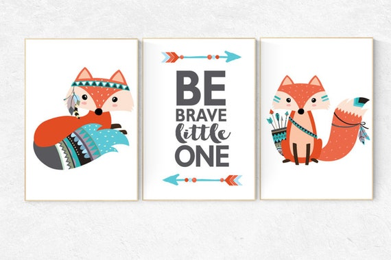 Nursery decor woodland, fox nursery decor, be brave little one, tribal nursery decor, woodland nursery, fox print, Woodland Animal Nursery