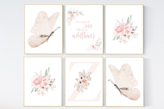 Nursery decor girl butterfly, floral nursery, nursery decor girl butterflies, blush, peach, flower nursery, butterfly nursery wall art