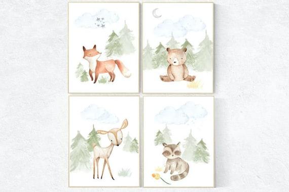 Nursery decor boy woodland, nursery decor neutral, woodland animals, fox, deer, bunny, bear, woodland nursery, gender neutral nursery