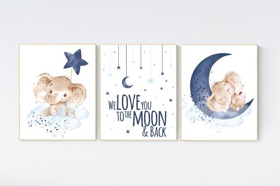 Nursery wall art animals, baby room decor navy blue, baby room decor, elephant, animal nursery decor, nursery prints, elephant nursery