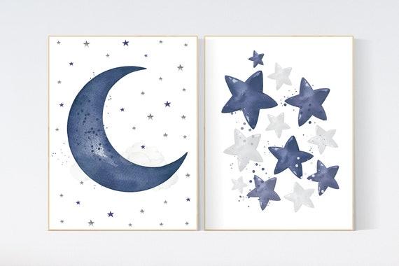 Navy nursery decor, cloud and stars, moon and stars, navy blue nursery art. baby room wall art, boy nursery decor, set of 2, nursery art