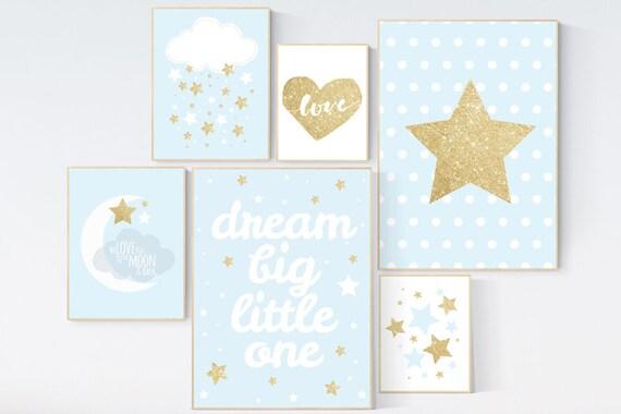 Nursery decor boy, Blue gold, nursery decor, blue nursery, dream big little one, moon and back, moon nursery, nursery decor