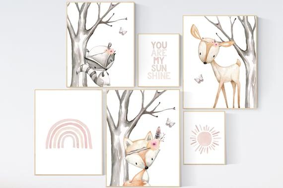 Animal prints for nursery, gender neutral, you are my sunshine, nursery decor neutral, rainbow nursery, nursery wall art animals, neutral