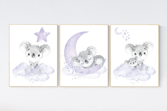 Nursery decor girl, koala nursery, moon and stars, purple nursery art, nursery prints animals, purple nursery decor, koala mother and baby