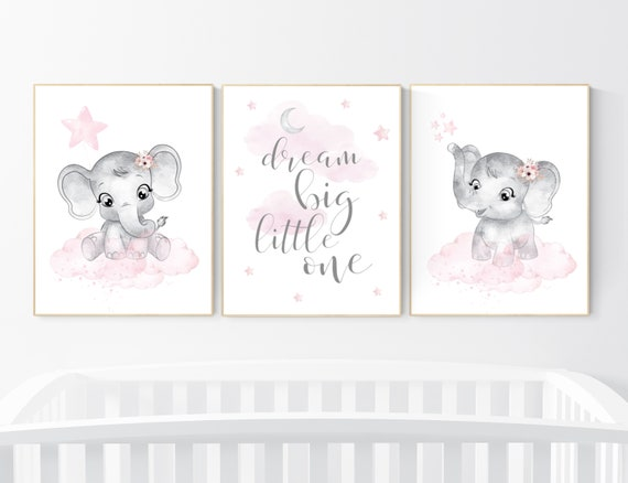 Nursery decor girl, Elephant nursery, nursery wall art elephant,  baby room, girl nursery decor, dream big little one, pink grey elephants