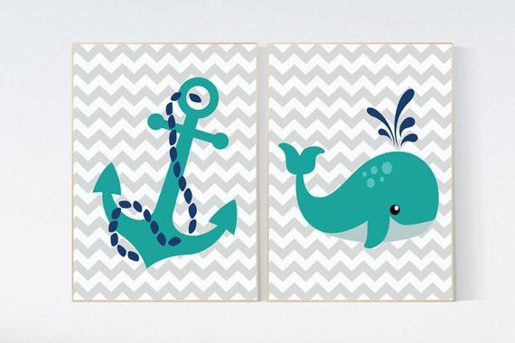 Nautical Nursery Wall Art, whale nursery, Navy Nursery Decor, Navy Nursery decor, teal navy nursery, baby boy, nursery set boy nursery decor