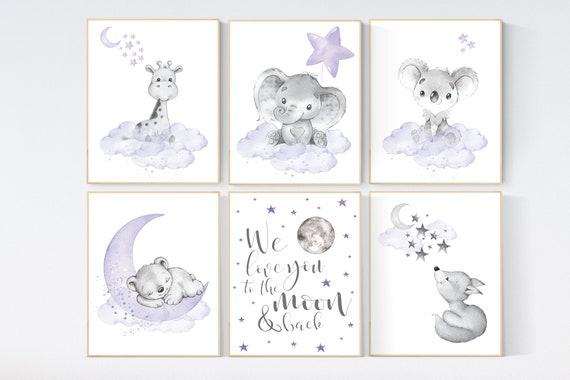 Nursery decor girl animals, purple nursery, lilac, elephant, bear, giraffe, animal nursery, lilac nursery, animal nursery prints