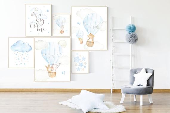 You are our greatest adventure hot air balloon, nursery wall art animals, moon and stars, Nursery decor boy neutral, travel nursery art
