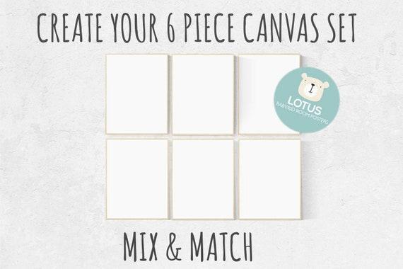 Choose Any 6 prints, Mix and match! Create your canvas set, Custom nursery decor, canvas nursery prints, set of 6 canvas prints, canvas