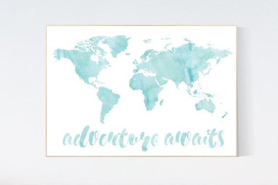 Mint nursery decor, watercolor world map nursery wall art, teal nursery decor, aqua nursery, turquoise nursery, adventure awaits, travel