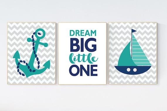 Nautical nursery prints, nursery decor nautical, nursery decor boy nautical, navy nursery decor, navy teal, dream big little one, nautical
