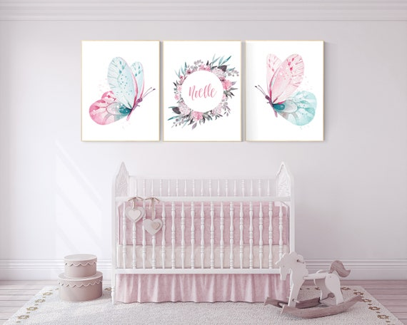 Nursery decor girl butterfly, pink and teal nursery, pink teal nursery, girl room prints, nursery wall decor, butterfly wall art pink