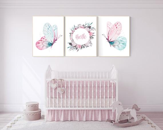 pink butterly print baby girl wall art living room decor Pink girl nursery decor butterflies art girl baby shower F207