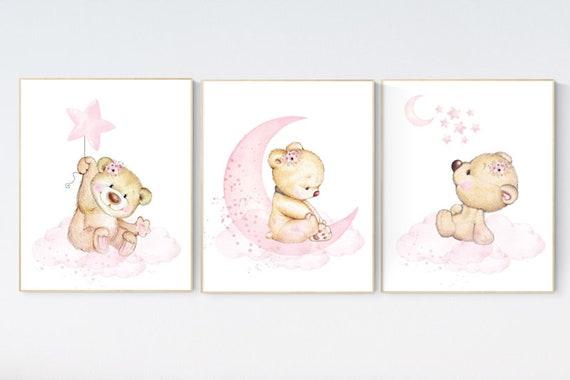 Nursery decor bear, bear nursery decor for girls, nursery decor girl, girl nursery decor, nursery wall art girl teddy bear print for nursery