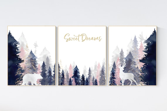 Nursery decor woodland, mountain wall art, tree nursery decor, adventure theme nursery, forest, navy, blush, gold woodland animals, forest