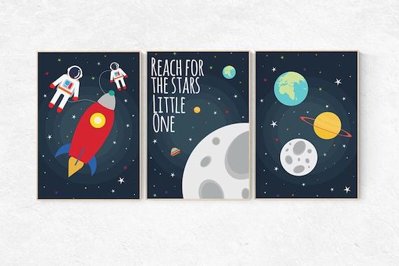 Reach for the stars little one, Space nursery decor, Space themed nursery, outer space, boys room wall art, baby boy, playroom, kids room