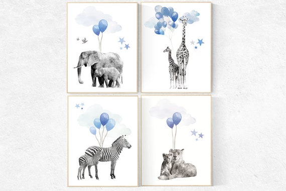 Navy blue all art, Baby animal prints, Safari Nursery, watercolor animals for nursery, navy nursery, nursery decor elephant, woodland animal