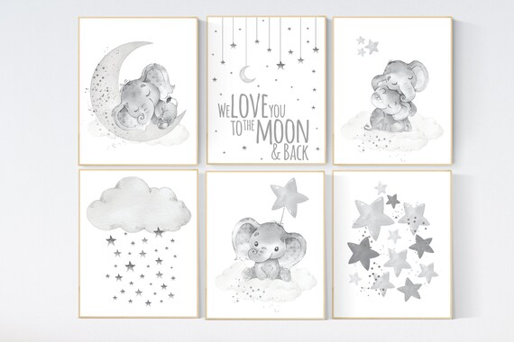 Nursery wall art gray, grey nursery, gender neutral, cloud and stars, we love you to the moon and back, elephant nursery set, neutral colors