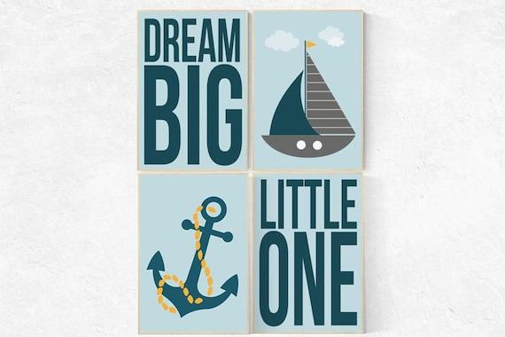 Nursery decor boy woodland, dream big little one, nautical baby room, Nautical Nursery Wall Art, navy blue nursery decor, nautical nursery