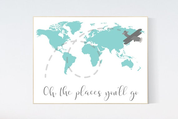 Oh the places you'll go, nursery decor travel, World Map wall art, world map nursery, teal navy nursery decor, world map wall art, teal
