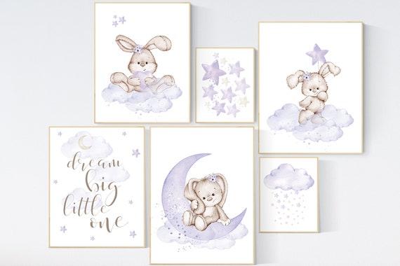 Nursery decor girl flower bunny, Nursery wall art girl, Rabbit nursery print, nursery print set girl, purple, lilac nursery, bunny