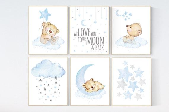 Nursery decor boy bear, boys nursery prints. nursery decor boy ideas, nursery art ideas, baby blue, grey, nursery wall art, sky, moon, stars