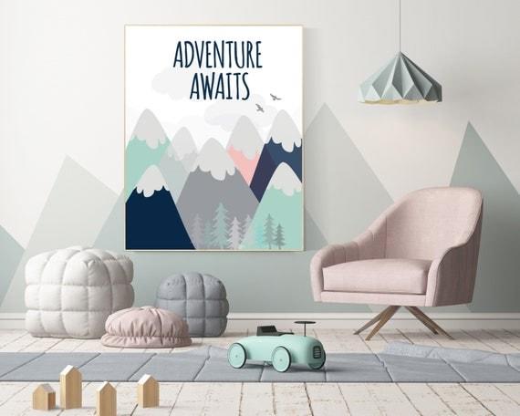 Nursery decor boy adventure, mountain nursery wall art, woodland, adventure awaits, nursery decor neutral, baby room decor mountains