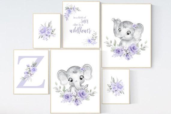 nursery wall art girl flowers, Nursery decor girl floral, nursery decor girl lavender, nursery wall art floral, purple nursery wall decor