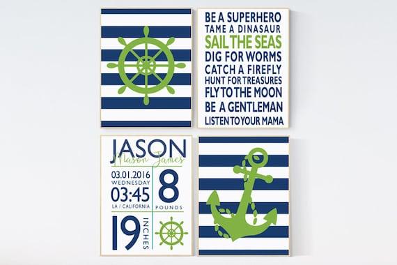 Nautical Nursery Art Print Set, Navy Green, Boy Rules Print, baby boy nursery, nautical prints, boys room decor, birth stats