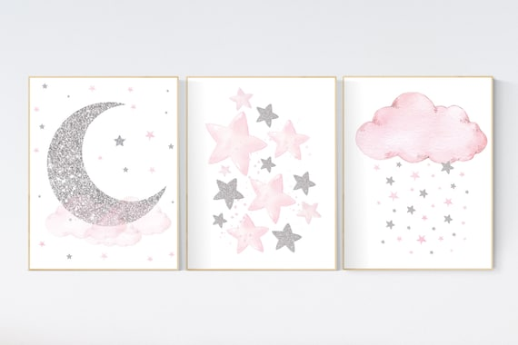 Nursery wall art girl, pink and silver nursery, cloud, stars, pink nursery art, cloud and stars, baby room decor for girls, pink silver