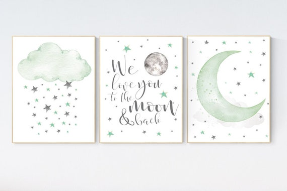 Green nursery decor, gender neutral nursery, we love you to the moon and back, sage green, moon and stars, twin nursery wall decor, green