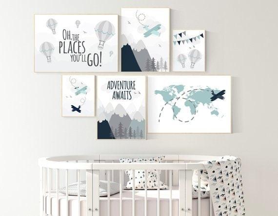 Adventure nursery decor, hot air balloon nursery, world map nursery, adventure awaits, woodland nursery decor, mountain nursery decor