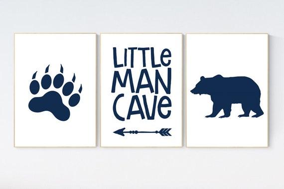 Baby boy Nursery Decor, little man cave, navy nursery, Bear nursery decor, nursery decor woodland animals, nursery wall art boy, woodland