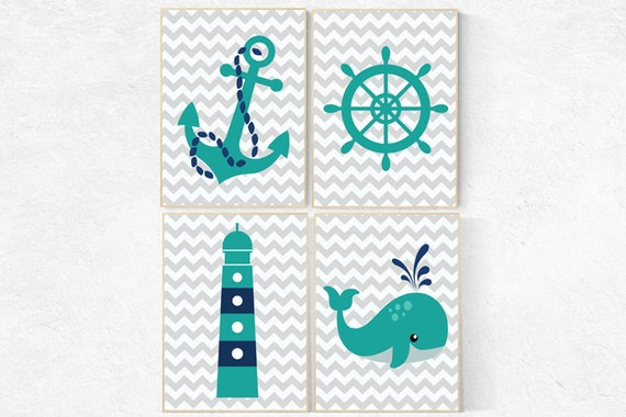 Nursery decor boy nautical, navy teal, nautical nursery, nursery wall art boy under the sea, ocean, nursery wall art boy quote, boy room