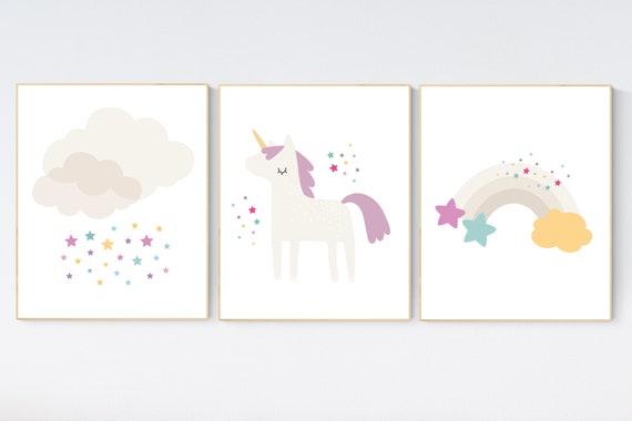 Nursery decor unicorn, baby room decor girl, cloud and stars, rainbow nursery, nursery wall art unicorn, girl room wall decor, rainbow