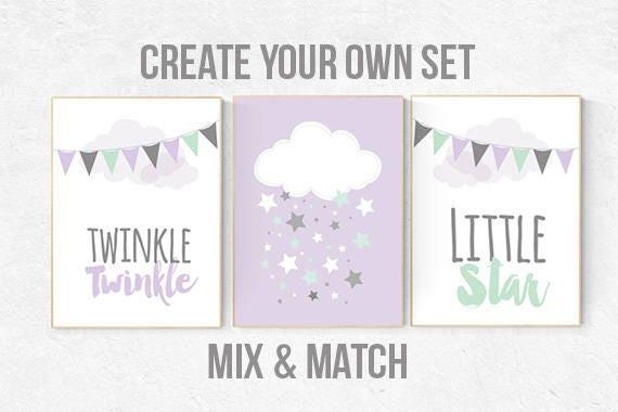 Lilac mint nursery, purple mint nursery, twinkle twinkle little star, nursery decor girl, lavender mint nursery, purple mint nursery, star