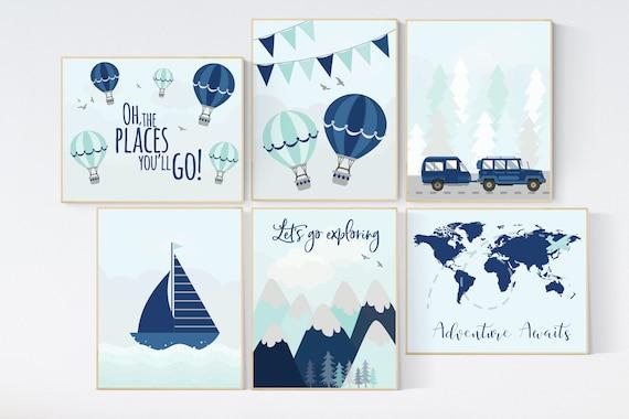 Adventure nursery decor, nursery decor boy adventure, nursery decor boy plane, world map nursery, adventure awaits, travel theme print