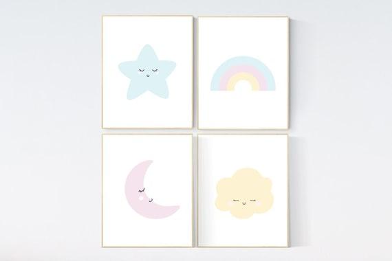 Nursery prints rainbow, Nursery decor gender neutral, nursery wall art boy, moon star, cloud, nursery wall art neutral nursery print