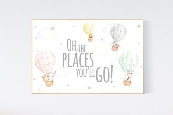 Canvas Listing: Nursery decor gender neutral, Hot air balloon nursery, you are our greatest adventure, animal prints